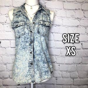 Jackets & Blazers - Vintage acid wash button up denim vest